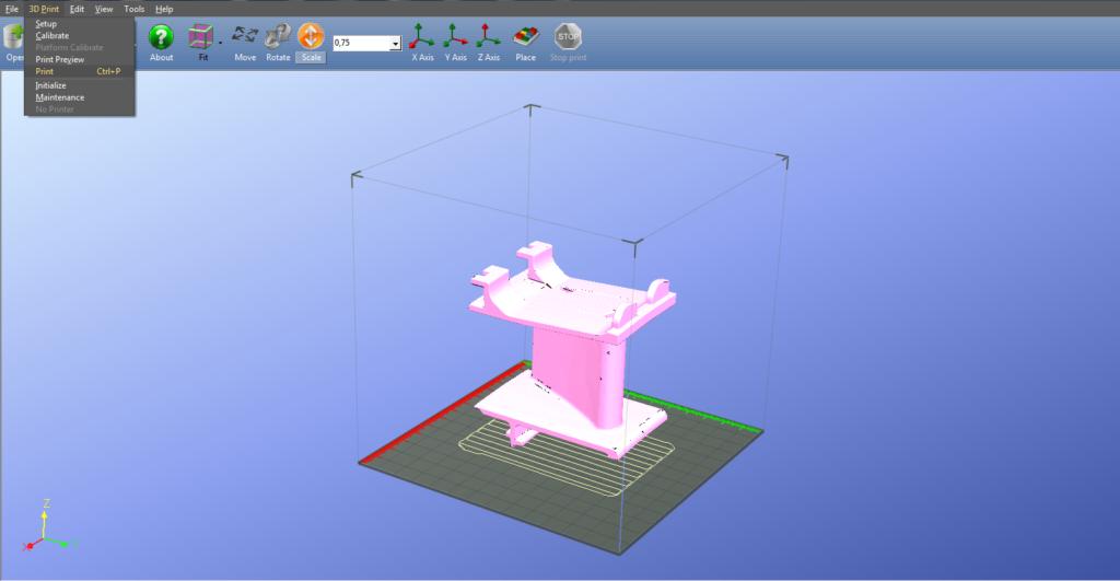 Print do programa que faz a modelagem do objeto 3D