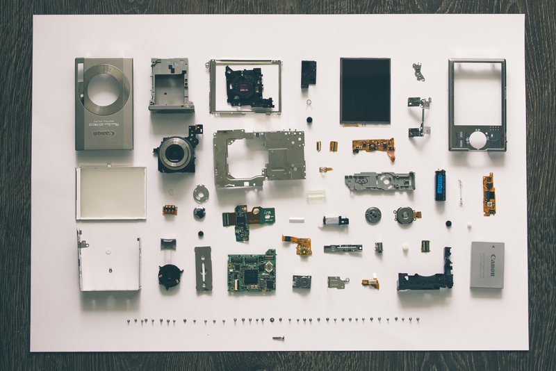 Foto mostrando peças de um prdotuo que podem ser impressas em 3D
