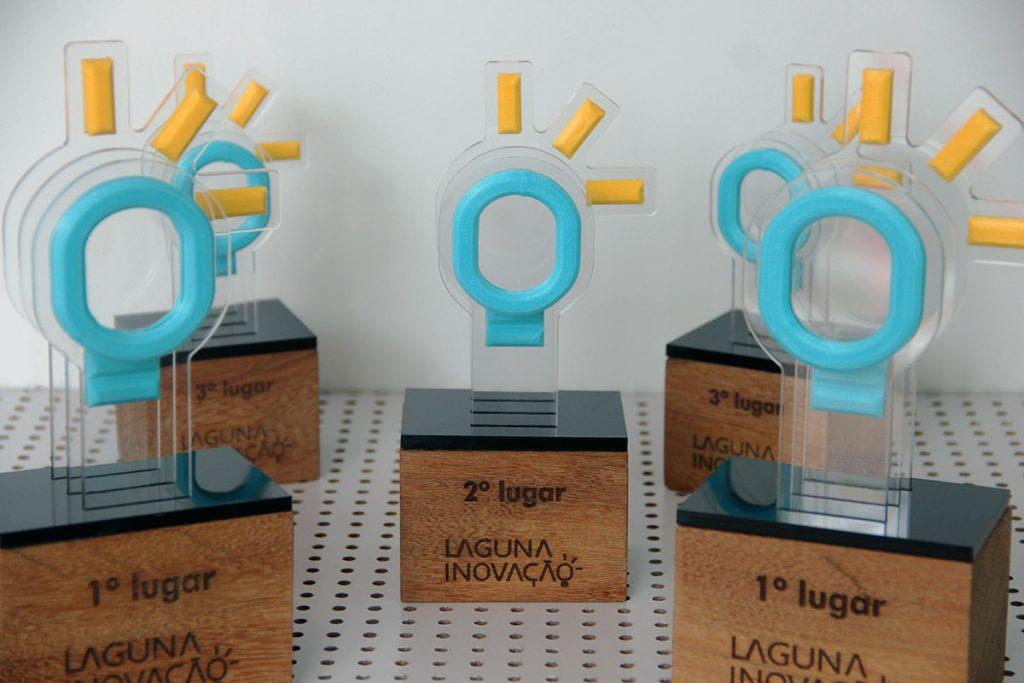 troféu da produteca feito para a construtora laguna